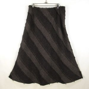 Tribal Bohemian Fringed Maxi Skirt Diagonal Stripe
